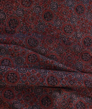 Precisely Reversible Cotton Ajrakh Fabric Printed Back-To-Back. 2½ Yards Red