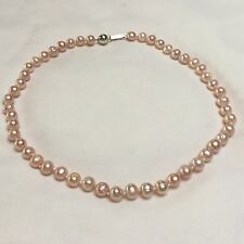 925 Silver Pale Pink Knotted Pearl Necklace Clip Clasp Bridal Wedding 18 inches