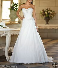 New Chiffon White/Ivory Wedding Dress Bridal Gown Free Shipping