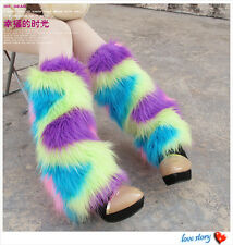 Rainbows Fluffies Fluffy Furry Leg Warmers Boots Covers Rave Furries XMAS GIFT