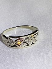 Stunning Vintage 14K White Gold Diamond Floral Ring