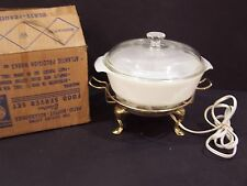 VINTAGE WARM-O-TRAY FIRE KING 1 1/2 QT CASSEROLE DISH warming buffet food server