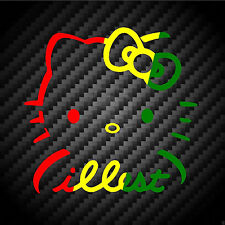 Hello Kitty Rasta Illest Car Vinyl Decal Sticker Wall Window Notebook JDM OBEY