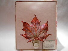 Real Sugar Maple Leaf Night Light Copper Iridescent Precious Metals Filigree Box