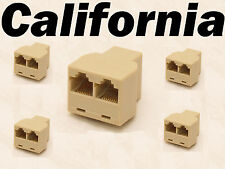 5X RJ45 1x2 Ethernet Connector Splitter 1 to 2 sockets Internet Cable Cat 5 6 7