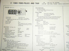 1969 FORD POLICE TAXI 302 CU IN 210 HP 2 BBL CARB IMCO SUN TUNE UP SPECS SHEET