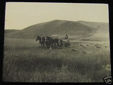 Glass Magic lantern slide FARMER PLOUGHING FIELD WITH SHIRE HORSE TEAM C1900