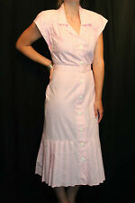 S PINK WHITE STRIPED VTG 80s DOES 40s FRONT BUTTON PLEATED DROP SKIRT SUN DRESS