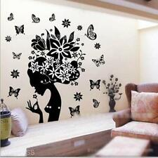 Wall Art Decal Removable Decoration Black Flower Fairy Angel Pattern Sticker New