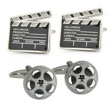 Movie Reels & Classic Film Clapperboard Cufflinks in Leather Case film buff N195