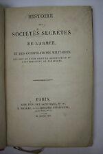 1815 First Edition HISTORY OF SECRET SOCIETIES OF THE ARMY *Napoleon*Illuminati+