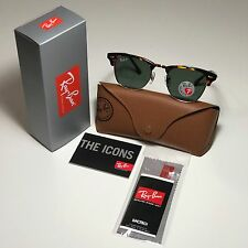 New Ray-Ban Clubmaster Classic RB3016 990/58 Tortoise POLARIZED Green G-15