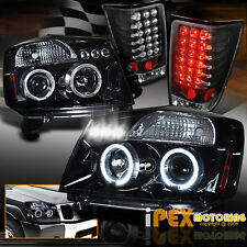 For 04-14 Nissan Titan Halo Projector Shiny Black Headlight+LED Black Tail Light
