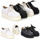 Fashion Women Lace Up High Platform Flats Retro Goth Punk Creepers Loafers Shoes