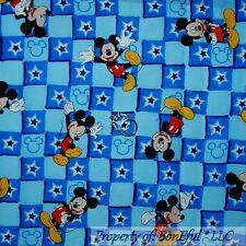 BonEful Fabric FQ Cotton Quilt Blue Mickey Mouse Red Star Block Square Baby Boy