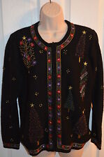 Bechamel Christmas Holiday Cardigan Wool Sweater Beaded Trees S Small
