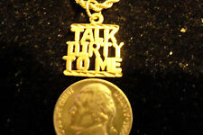 bling gold plated talk dirty word pendant charm 24in rope chain hip hop necklace