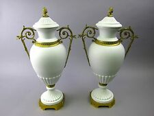 Pair of French Ormolu Bronze Mounted Parian Ware White Urns Sevres