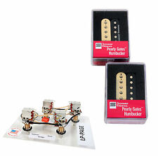 Duncan Pearly Gates Humbucker Pickup Set, Zebra + Page Les Paul Wiring Harness