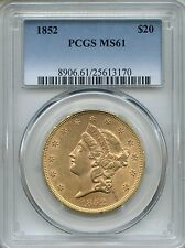 1852 $20 Liberty PCGS MS61 ~ Double Eagle Gold Coin (25613170)