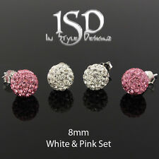 .925 Sterling Silver 8mm Swarovski Elements White Pink Crystal Ball Stud Earring