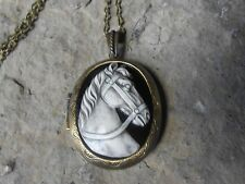 WHITE HORSE CAMEO LOCKET (hand painted) -ANTIQUE BRONZE, VINTAGE LOOK, EQUINE