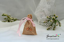Hessian Mini Favor Bags 25 x Baby Shower Thank You It's a Girl Christening Heart