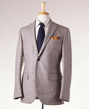 NWT $1275 BRANDO (L.B.M. 1911) Heather Beige Windowpane Flannel Suit 38 R (Eu48)