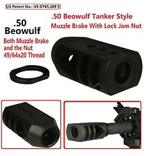 49/64x20 TPI Tanker Style Muzzle Brake,For .50 Beowulf,With 49/64x20 TPI Jam Nut