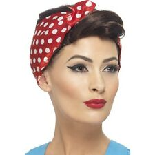 Women's Rosie Wig with Headscarf 40's 50's Classy Hen Pin Up Girl Model Polkadot
