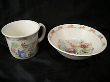 Royal Dalton Bunnykins cup & bowl English Bone China rabbits art  keepsake baby