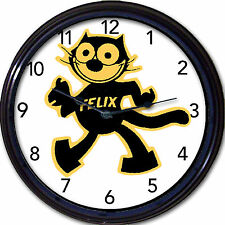 Felix the cat wall clock cartoon animal black cat kitten feline retro New 10""