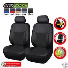 Universal Full Black pu leather Two Front Car Seat Covers Set Airbag Fit New Set