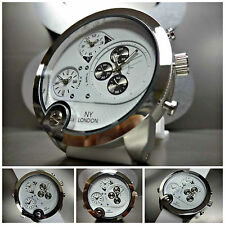 Mens OVERSIZE SPORT CASUAL MILITARY 3 Multi Time Zone WRIST WATCH White Silicone