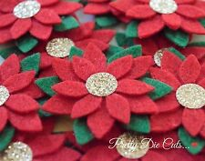 Felt Poinsettias Flowers (5) Seasonal Die Cut Christmas Craft Embellishments
