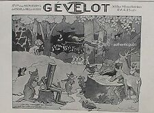 PUBLICITE GEVELOT MUNITION CHASSE SIGNE BENJAMIN RABIER ANIMAL DE 1927 FRENCH AD