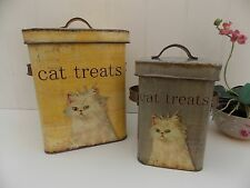 Shabby Chic Set Metal Cat Food Kitchen Storage Tins Cattery Treat Containers