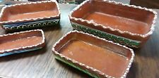 VTG Mexican Clay Redware Pottery Hand Painted Nesting Casserole 4 Serving Dishes