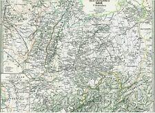 143 Jahre alte Landkarte DEUTSCHLAND Schwaben Elsaß Lothringen Schweiz 1875