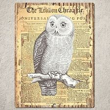 PP0180 OLD CLASSIC NEWSPAPER OWL Sign Home Restaurant Cafe Interior Wall Decor