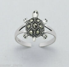 925 Sterling Silver Marcasite Turtle Design Toe Ring Adjustable Body Jewellery