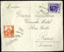 ROMANIA 1936 cover BUCURESTI PAR AVION to PARIS + 2 french METER pmk GRAND HOTEL