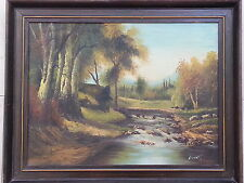 VTG OIL PAINTING CANVAS ORIGINAL FRAMED  LANDSCAPE  WOOD FOREST RIVER SIGNED