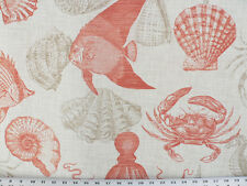 Drapery Upholstery Fabric Indoor / Outdoor Marine Life - Coral / Natural