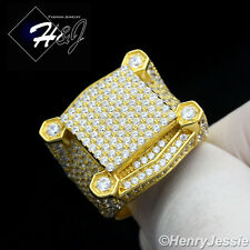 MEN 925 STERLING SILVER LAB DIAMOND GOLD/SILVER ICED OUT BLING RING*GR54