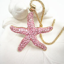 Gold Plated Pink Crystal Big Starfish Charm Pendant Necklace Sweater Chain