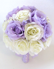 17 pc Wedding Bouquet Bridal Silk flowers LAVENDER LILAC CREAM IVORY BROOCH
