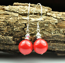 Red Coral W Swarovski Elements Crystal Pearl Earrings Sterling Silver Filled
