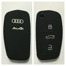 AUDI BLACK SILICONE CAR KEY COVER CASE PROTECTOR A2 A3 A4 A6 TT R8 FLIP KEY FOB