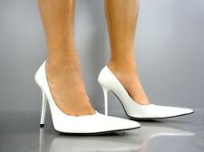 MADE IN ITALY LUXUS HIGH HEELS POINTY PUMPS SCHUHE DECOLTE LEDER WHITE BIANCO 42